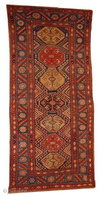 #1B424  Handmade antique Persian Kurdish rug 3.3' X 7.2' ( 100cm X 219cm ) C.1880