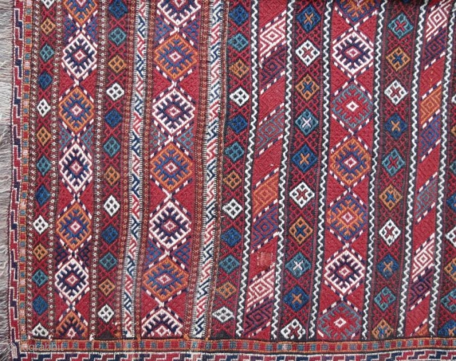 Persian Quchan Kurd kilim,pure wool embroidery natural color .284 x 150 cm