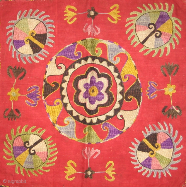 Embroidered silk square mirror bag.