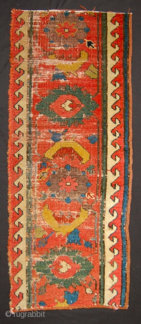 Ancient Sauj Bulag kurdish border fragment. Early 19th.c. 97 x 39cm.