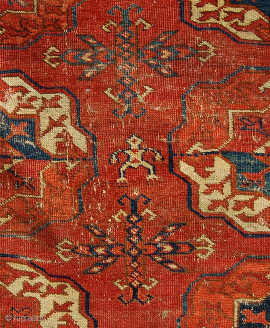 Tekke main carpet. 250 x 194cm. A battered but noble and early example.