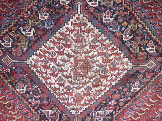 Antique Khamseh murgh or chicken rug. Battered but beautiful.. Super fine with real character.