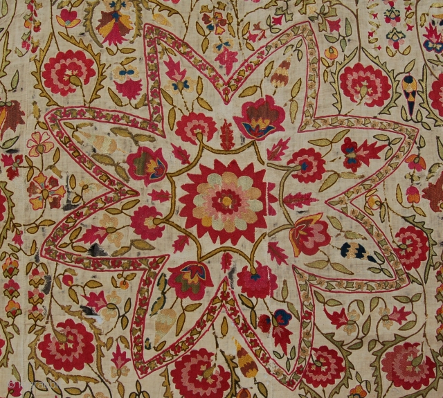 Rare early Ura tube suzani. Central asia. Circa 1800.209 x 170 cm. This stunning example of central asian embroidery is fresh to the market and a worthy addition to any suzani collection.  ...