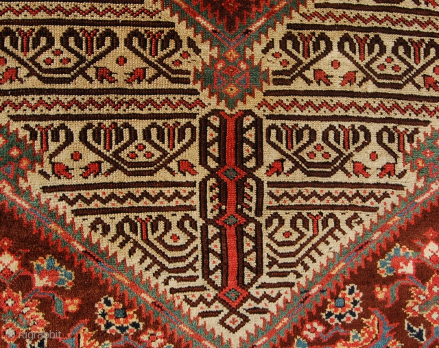 Cut down fragment of a beautiful sarab runner made into a rug. Lovely colour and weave. 19th century. Aprox. 160 x 100cm.