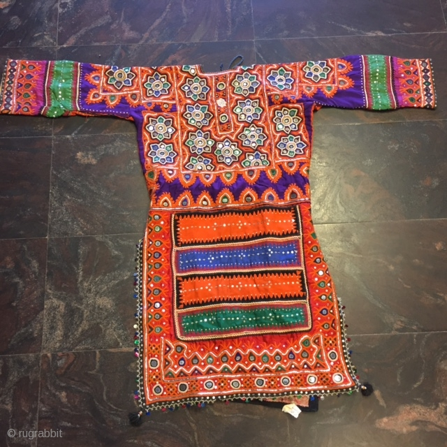 kutchi (kanchala)top of pakko style mirror work worn by sodha rajput women in kutch region Gujarat with very nice embroidery done on both the sides of the top (kanchala)both the sides of  ...