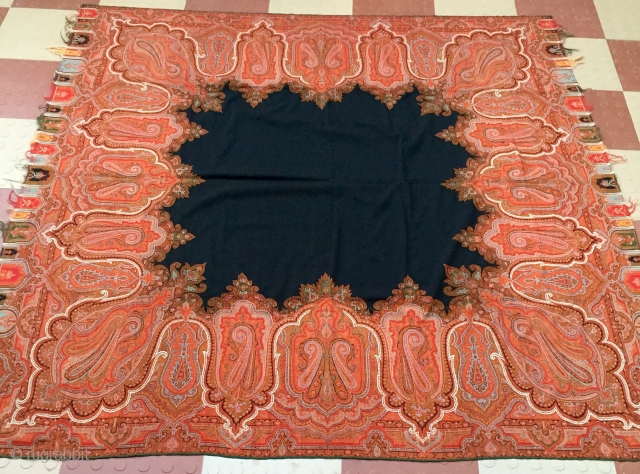 Square Paisley  rumal of c.1870 measuring 68inches X 68 inches hand woven for the royal family in India with beautiful mango motifs in this rumal.the rumal is in perfect condition.