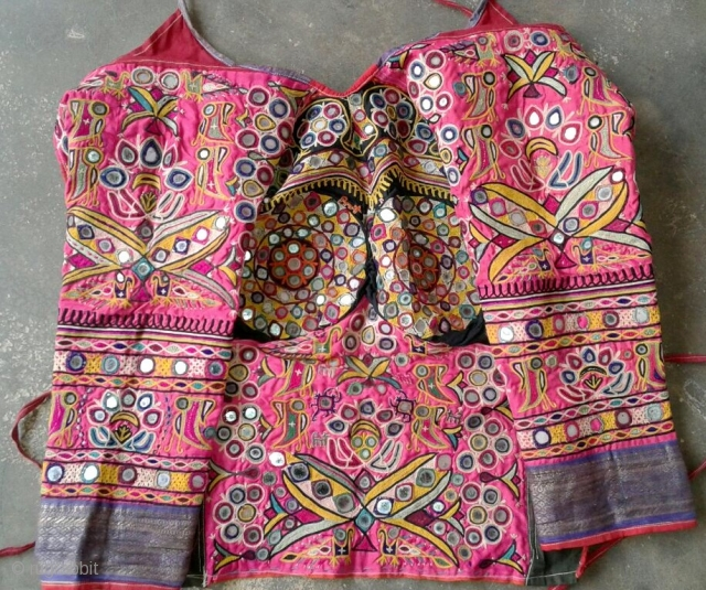top blouse from Kutch region Gujarat from ahir family completely hand embroidered on satin in very good condition.