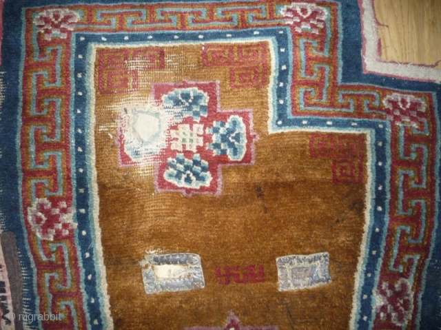 big  antique tibetan horse blanket with rare design, good colors and nice wool