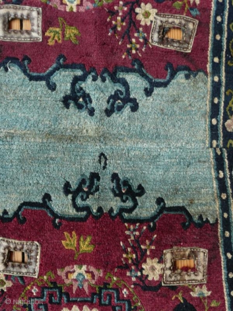 antique tibetan saddle rug with good colors and design
