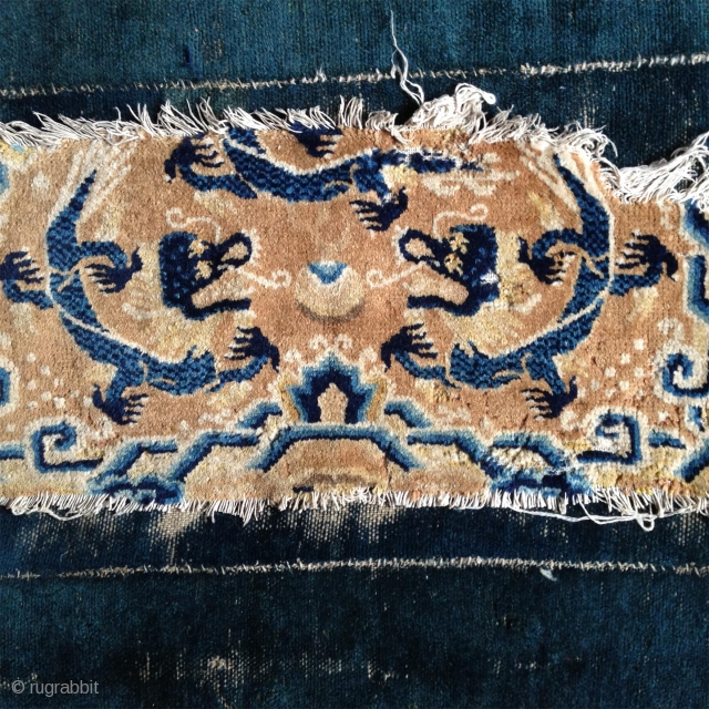 2 and half dragons, about one half of a ningxia five dragons mat. super fine wool, well preserved colors and nicely executed drawing. about 1800, price about the low bottom level including  ...