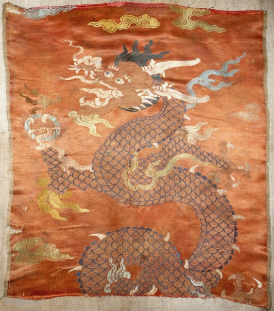 beautiful kangxi era, ca 1700, silk brocade possibly a fragment from a chair cover ,original width.