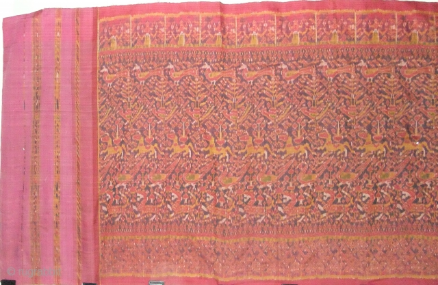 Cambodian textiles Cambodia 006 - 300cm x 90cm -118in x 35.5 in, silk Ikat ,Small tears on sides and bottom, very rare and good cloth, good color, approx. late 19th early 20th century.