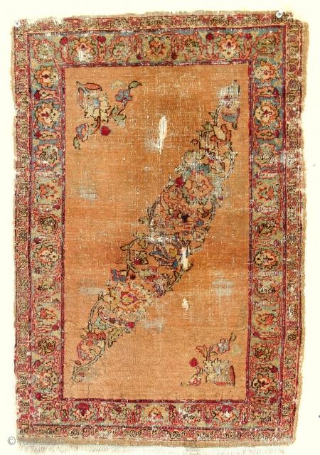 Fabulous 1840 Farahan apricot pushti. Super fine weave.