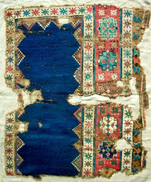 "Unique 17th or 18th c. Central Anatolian ""proto-talish"" rug fragment. Mounted on linen. Mostly full, silky pile. Stunning!"