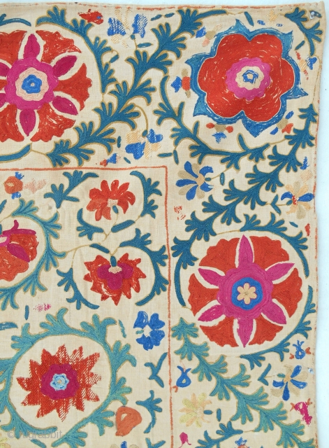 Early to mid 19th c. Uzbek Suzani with wear (detail)