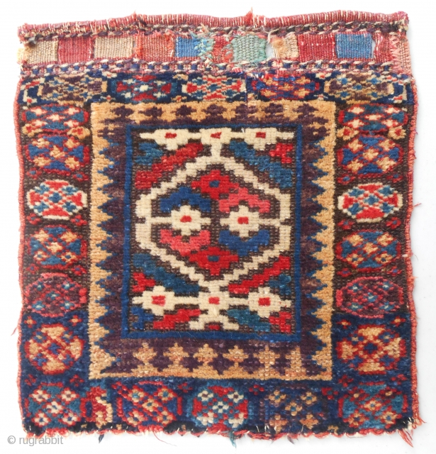 Small Kurdish bagface with classic SaujBulagh design motif. Original, nearly full pile condition. C. 1870.