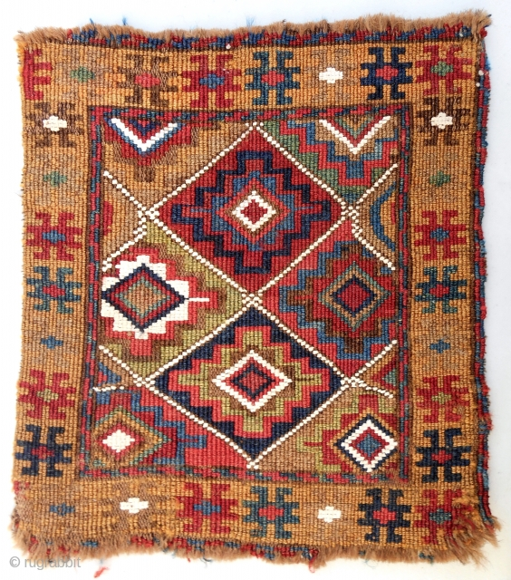 "Very Colorful and rare, 1850-70 Moghan reverse sumak chanteh front (10""x 11""). Cotton whites. Good condition."