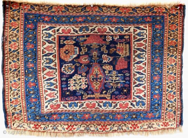 Rare Kurdish large bagface. Circa 1870-80.