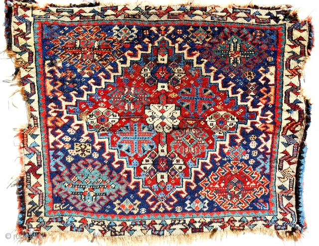Fine Qashqai bagface. Good pile, better colors! Early example c. 1870. However, ragged all around. Certainly worth collecting.