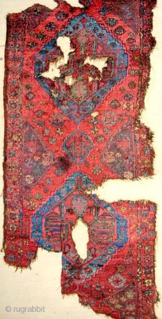 18th C. Karaman sleeping rug fragment. Mostly full pile!