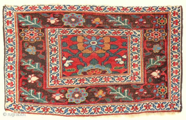 "Bold and dramatic Kurdish ""Bijar"" large bagface (40"" x 24""). Circa 1880. Very good condition."