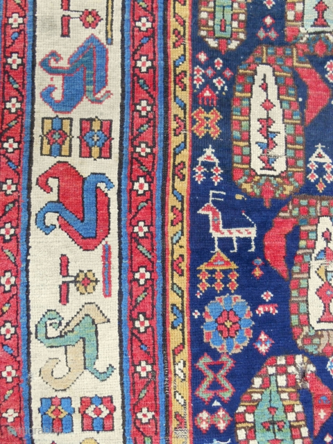 Shahsavan boteh design rug fragment with incredible border (detail). Mid 19th c. You will probably never see another. Super cool!