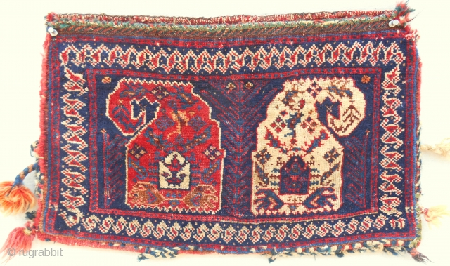 """Small Afshar """"boteh"""" complete bag. C. 1870-80."""