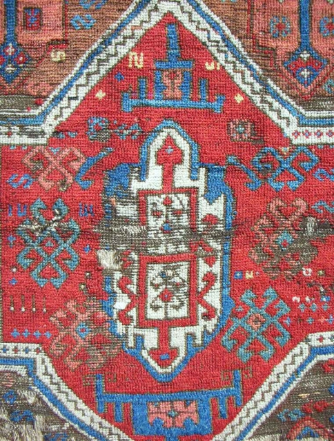 18th c. East Anatolian Kurdish rug fragment. (Detail). Wicked color. Best of type??