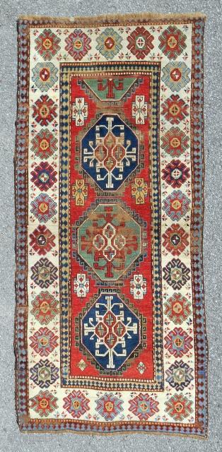 Gendje Azerbaijan rug in pretty good condition. C. 1880.