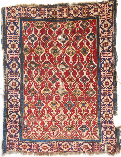 """Rare and early Caucasian Kuba rug. Damaged but maybe """"best of type"""""""