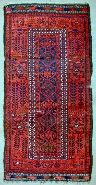 Khorassan Baluch with extremely saturated color and good pile. Clean. Older than you think, c. 1880.