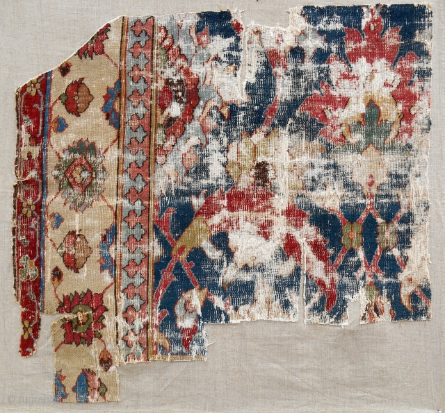 Very rare and fine Herat carpet fragment. Conserved & mounted on linen.