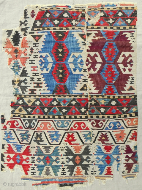 West Anatolian Kilim fragment. Early 19th c. Mounted.