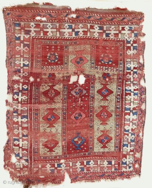Rare, small 18th c. West Anatolian prayer rug. Complete and all original.