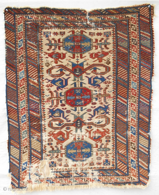 Super fine Caucasian Kuba small rug. Circa 1870.