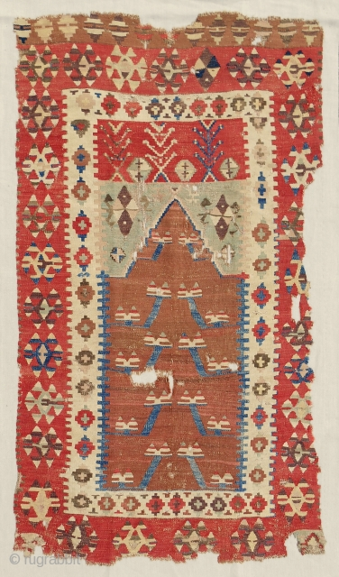 Obruk prayer kilim with excellent color range. Early 19th c. Conserved and mounted on linen.