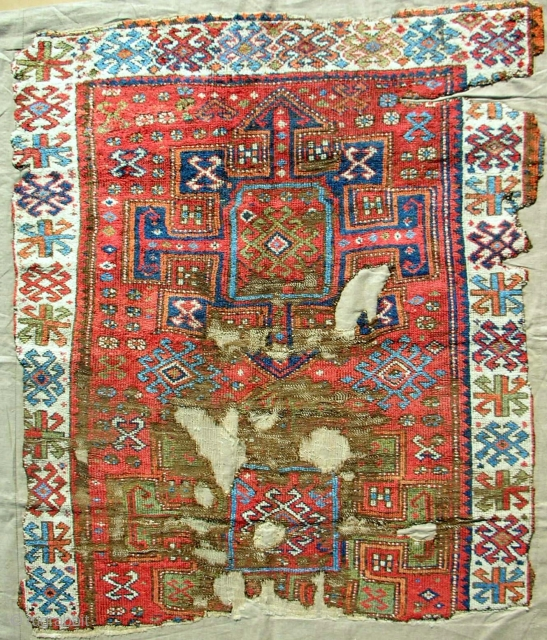 Early 19th c. East Anatolian Kurdish rug fragment. Cleaned & professionally mounted on linen.