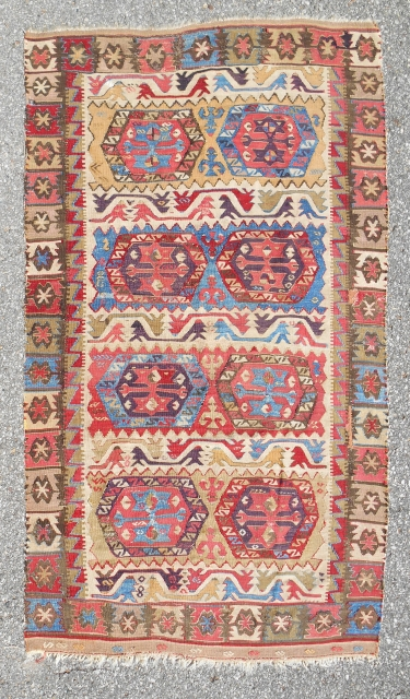"""Central Anatolian small kilim (42""""x 73"""") Complete. Early 19th c. Exceptional color & drawing. Good condition."""
