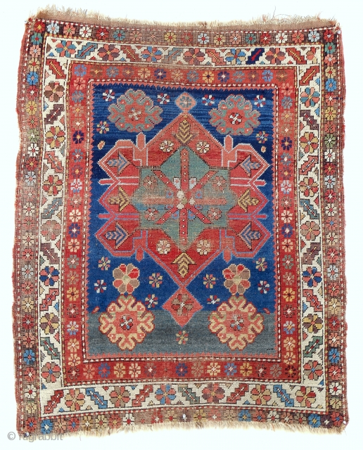 "Small Armenian Caucasian ""Kazak"" rug (41"" x 50""). Circa 1850. All original. 17 different, distinct natural colors! Rare."