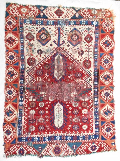 Small, rare 18th C. West Anatolian prayer rug. Damaged but beautiful.