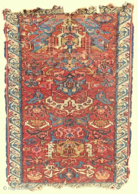 Small Caucasian Kuba Dragon sumak prayer rug. Circa 1870. Cool.