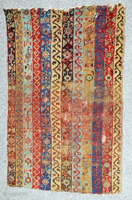 Extremely rare striped Anatolian Sarkisla rug fragment (about 4x6 ft). 18th c. Radiant!