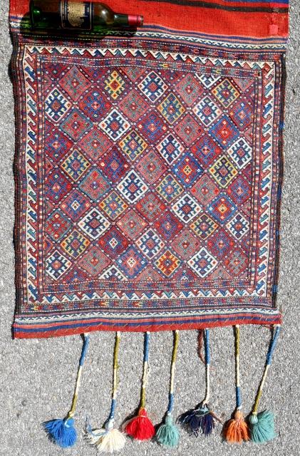 "Large Northwest Persian Kurdish sumak opened bag (31""x 33"" front) with striped kilim back. Sensational jewel-like colors. Circa 1870-80. Excellent, original condition."