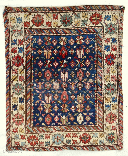 """Small, (39""""x 48"""") classic Chichi Caucasian Kuba rug with early drawing and sparkling color. Circa 1850-70."""