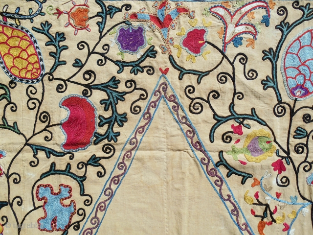 "Very sweet 19th C. prayer (Uzbek?) Nim Suzani (39"" x 57""). Lovely organic drawing and great color."