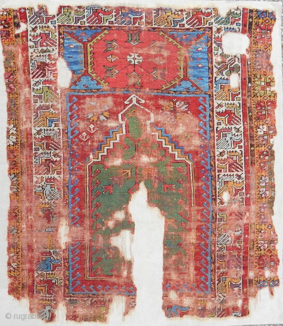 Small and bold 18th c. Anatolian Mudjar prayer rug. Best color! Conserved and expertly mounted on linen.