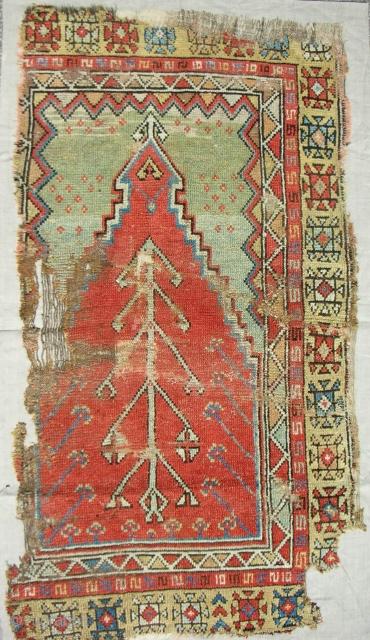 Konya prayer rug. Circa 1800. Clean and professionally mounted on linen.