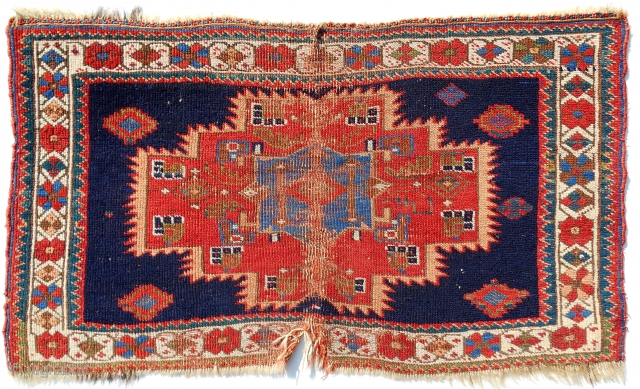 Iconic Afshar chuval in distressed condition. Much more beautiful than most, however. c. 1870.