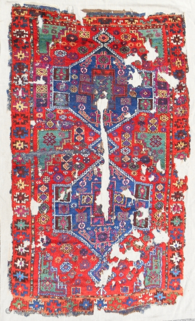 Stunning 18th c. East Anatolian Kurdish rug. Conserved and mounted on linen. Nearly full silky pile. Absolutely best color!