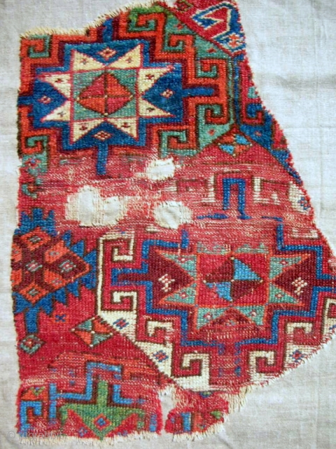18th c. Anatolian Sivas rug fragment. Look at the green! Conserved & mounted on linen.